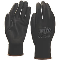 Site KF120 PU Palm Dip Gloves Black Large