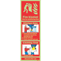 Nite-Glo  'Fire Blanket' Kitchen Fire Sign 100 x 300mm
