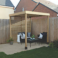 Forest  Pergola with 1 Side Infill Natural Timber 1970 x 1970 x 2045mm