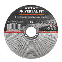 "Stainless Steel Metal Cutting Disc 5"" (125mm) x 1 x 22.2mm 5 Pack"