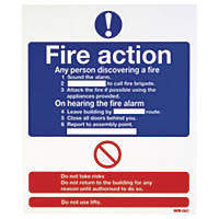 """Nite-Glo  """"Fire Action"""" Notice Sign 300 x 250mm"""