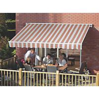 Greenhurst Kingston Patio Awning Multi-Stripe Terracotta 2.5 x 2m