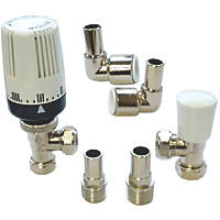 """Myson 2-Way & Matchmate Nickel / White Angled Push-Fit TRV & Lockshield with 90° Elbow 10mm x ½"""""""