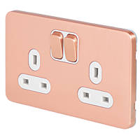Schneider Electric Lisse Deco 13A 2-Gang SP Switched Socket Copper  with White Inserts