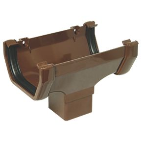 Floplast Square Line Running Outlet 114mm Brown Square