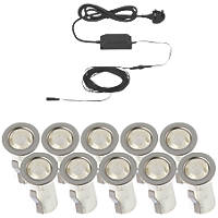 LAP Apollo White LED Deck Light Kit Polished Stainless Steel 15mm 10 Pack