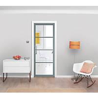 Jeld-Wen  4-Clear Light Painted Grey Wooden Shaker Internal Door 1981 x 686mm