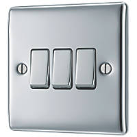 British General Nexus Metal 10AX 3-Gang 2-Way Light Switch  Polished Chrome with Colour-Matched Inserts