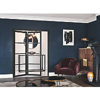 Jeld-Wen Room Fold 2-Door 4-Clear Light Painted Black Wooden Shaker Internal Bi-Fold Room Divider 2047 x 1319mm