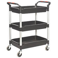 Proplaz Plus  Black 3-Shelf Tub Trolley