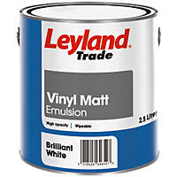 Leyland Trade Vinyl Matt Emulsion Paint Brilliant White 2.5Ltr