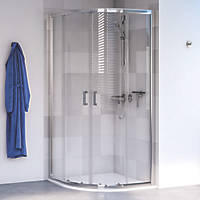 Aqualux Edge 6 Quadrant Shower Enclosure LH/RH Polished Silver 800 x 800 x 1900mm
