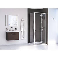 Aqualux Edge 6 Square Shower Enclosure LH/RH Polished Silver 760 x 760 x 1900mm