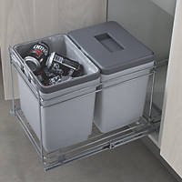 Hafele  Pull-Out Waste Bin System Grey 2 x 15Ltr