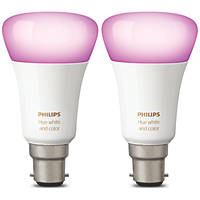 Philips Hue White & Colour Ambience LED GLS BC Smart Bulb Colour-Changing 9.5W 806Lm 2 Pack