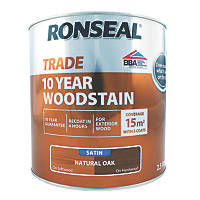 Ronseal Trade 10 Year Woodstain Satin Natural Oak 2.5Ltr