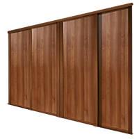 Spacepro Shaker 4 Door Panel Sliding Wardrobe Doors Walnut 2898 x 2260mm