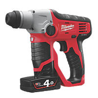 Milwaukee M12 H-402C 1.8kg 12V 4.0Ah Li-Ion RedLithium  Cordless SDS Plus Hammer Drill