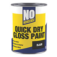 No Nonsense Water-Based Gloss Paint  Black 1Ltr