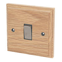 Varilight  10AX 1-Gang 2-Way Light Switch  Classic Oak with Black Inserts