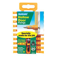 Plasplugs Hollow Door Fixings 6 x  20 Pack