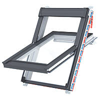 Keylite  P02 Manual Centre-Pivot Polar White uPVC Roof Window Clear 550 x 980mm