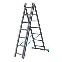 Mac Allister 3-Section 3-Way Aluminium Combination Ladder  4.65m