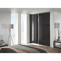 Spacepro Classic 2 Door Framed Glass Sliding Wardrobe Doors Black 1793 x 2260mm