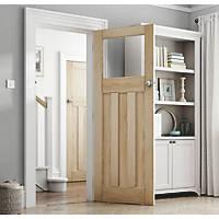 Jeld-Wen Deco 3-Clear Light Unfinished Oak Veneer Wooden 3-Panel Internal Door 1981 x 838mm