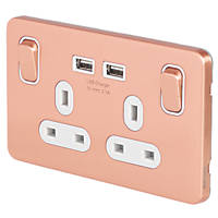 Schneider Electric Lisse Deco 13A 2-Gang SP Switched Socket + 2.1A 2-Outlet USB Charger Copper with White Inserts