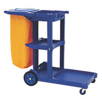 Blue 3-Shelf Cleaning Trolley with Bag & Lid