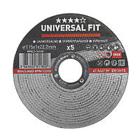 "Stainless Steel Inox / Metal Cutting Discs 4½"" (115mm) x 1 x 22.2mm 5 Pack"