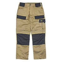 "Site Pointer Work Trousers Stone / Black 40"" W 32"" L"