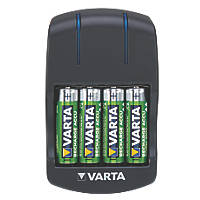 Varta Plug Battery Charger + 4 x AA Ready2Use Batteries
