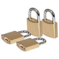 Smith & Locke  Brass Padlock 39mm 4 Pack