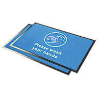 "COBA Europe  ""Please Wash Hands"" Indication Floor Mat Blue 0.95 x 0.6m 2 Pack"