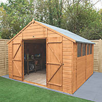 """Forest Delamere 9' 6"""" x 10' (Nominal) Apex Shiplap Timber Shed with Assembly"""