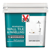 V33 Wall Tile & Panelling Paint Satin Soft Grey 750ml