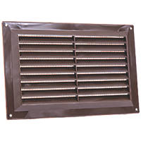 Map Vent Fixed Louvre Vent with Flyscreen Brown 229 x 152mm