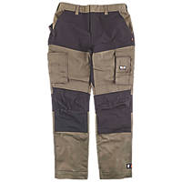 "Herock Socrates Stretch Canvas Work Trousers Dark Khaki / Black 32"" W 32-34"" L"