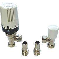 """Myson 2-Way & Matchmate Nickel / White Angled TRV & Lockshield 15mm x ½"""""""