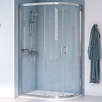 Aqualux Edge 8 Offset Quadrant Shower Enclosure Reversible Left/Right Opening Polished Silver 1000 x 900 x 2000mm