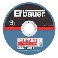 """Erbauer Cutting Discs 4½"""" (115mm) x 3 x 22.23mm 5 Pack"""