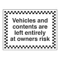 """Vehicles & Contents"" Sign 450 x 600mm"