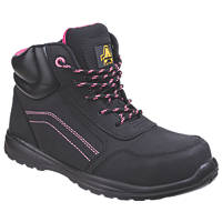 Amblers Lydia Metal Free Ladies Safety Boots Black / Pink Size 4