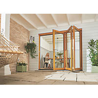 Jeld-Wen Kinsley 3-Door Satin Stained Golden Oak Wooden Slide & Fold Patio Door Set 2094 x 2394mm
