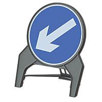 "Melba Swintex Q Sign Round ""Arrow Left"" Traffic Sign 864 x 1072mm"