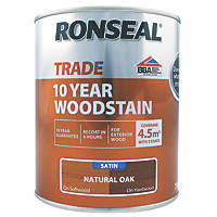 Ronseal Exterior Woodstain Satin Natural Oak 750ml