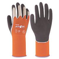 Towa ActivGrip XA-325 Latex-Coated Finger Gloves Grey / Orange X Large