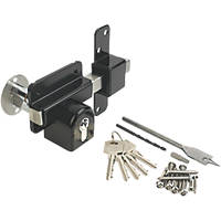 GateMate Black Double-Locking Euro Long Throw Lock 85mm